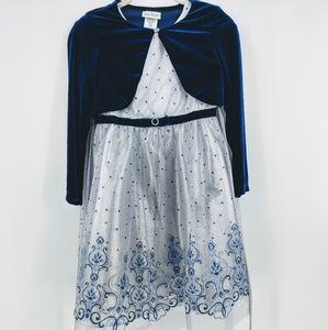 Jona Michelle girls silver&royal blue velvet dress